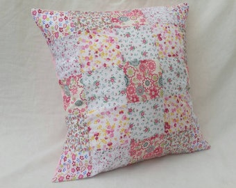 "Pink 16"" Patchwork Cushion"