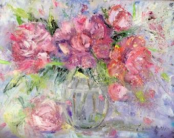 "Pink Peonies Painting Original Oil  Floral Painting 11 x 14"""