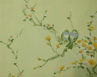 Vintage Springmade buttery yellow blossoms and birds  double/full flat sheet
