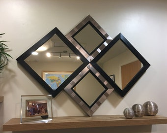 "EXCLUSIVE""The Harrogate"" Black and Silver Diamond Wall Mirror 115 X 86 CM"