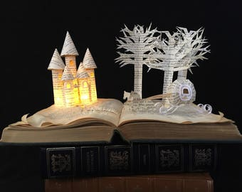 Fairytale Book Sculpture with Cinderella Carriage and Castle