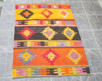Turkish rug Kilim Rug Turkish kilim rug FREE SHIPPING  4.1 x 1.8 feet e:54