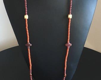 Brown /terracota long necklace cross unique piece