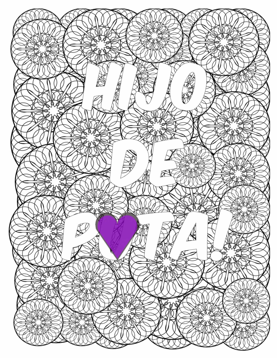 Swearing colouring in book nz - Hijo De Puta Son Of A B Tch Mandala Spanish Profanity Adult Coloring Page Instant Download Swear Word Coloring Page