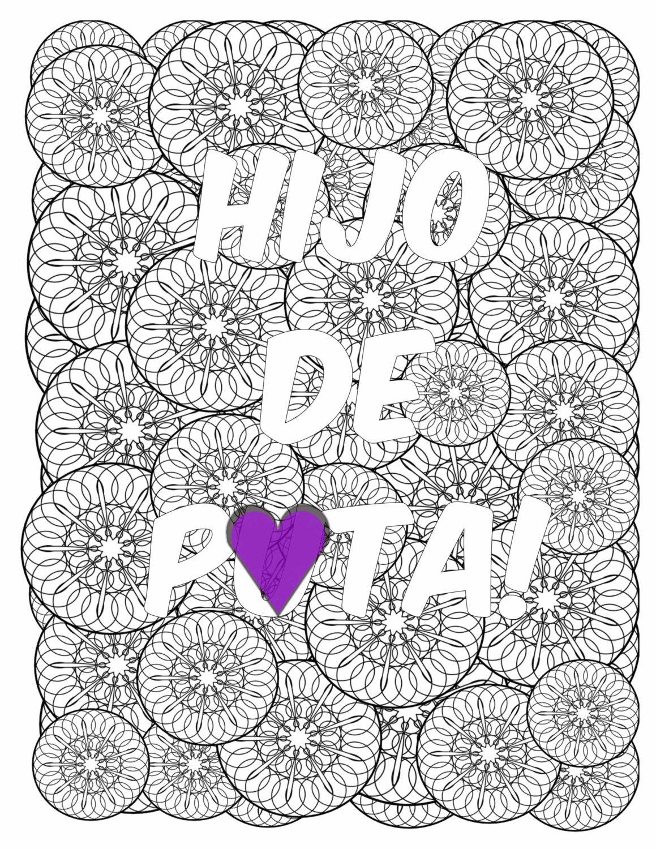 Bad word coloring pages - Mandala Spanish Profanity Adult Coloring