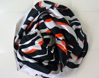 Oversized 100% Silk Scarf With Orange Leopard Print for Women