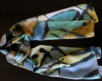 Saturday in the Park hand painted silk scarf