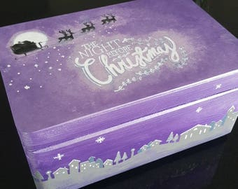Christmas Eve Box - Hand painted, personalised wooden 'Night Before Christmas...' Box - Lilac Shimmer (Available in any colour)