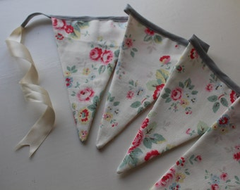 Floral and Grey Fabric Bunting