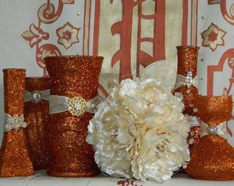 Fall Wedding, Fall Wedding Centerpiece, Fall Wedding Decor, Fall Wedding Decorations, Glitter Vases, Fall Wedding Favors, Fall Reception Dec