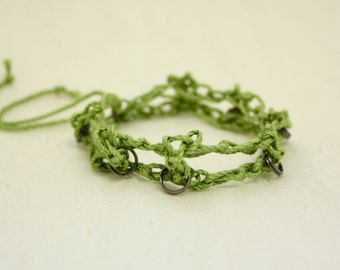 Crochet natural fibers bracelet