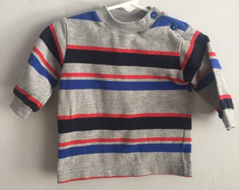 Baby Togs 1980s Infant Boys Crew Neck Striped Sweater 6-9 Months