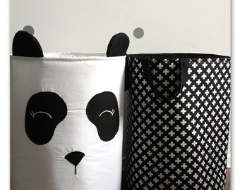 Toy basket XL, panda, loundry basket, storage basket, black, white, scandi style, nursery basket