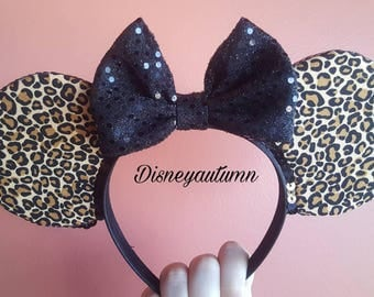 Leopard Minnie Ears| Mickey Ears| Mickey Headband | Mickey Mouse Ears | Minnie Mouse Ears| Animal Kingdom Ears