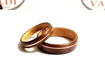 Wooden Wedding  Rings. Teak wood and Maple wood. With copper inlay