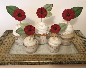 Flower Cupcake Toppers-Wedding Cupcake Toppers-Bridal Shower-Birthday-Anniversary-Red Poppies-Set of 12
