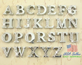 26pcs Slide Letters Charms Wholesale Half Rhinestone 8mm Pick Choose Your Own or 1 Set A-Z (1 each) Alphabet Rhinestone Slide Charm Letters