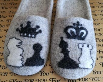 """Slippers for the man """"Chess Pieces"""""""