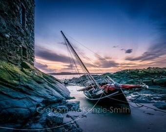 Castle and Boat , Scotland photography, Scotland art print, Scotland