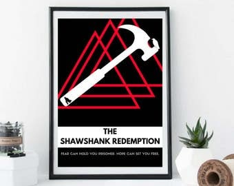 076 Shawshank Redemption Movie Poster Stephen King Book Quote, Black and White, Print, Typography Art, Contemporary Art, Modern Poster, Film
