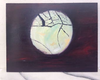 Oil Painting Original, Wall art, original artwork, Luna, Landscape, Sky Scene, Nature, Night Sky, The Moon, Gift, House Warming, Home Decor