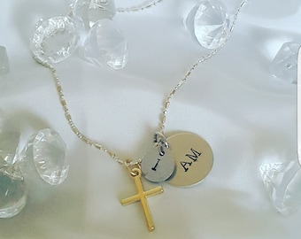 Necklace with I AM charms &  cross