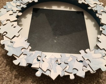 "Handmade Jigsaw Puzzle Piece Circular Photo Frame 4""x4"" Photo Blue and White"