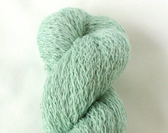 Recycled Linen Yarn Lace Weight Shimmering Mint