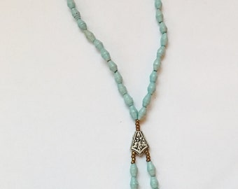 Light Blue Paper Bead Necklace with Silver Charm