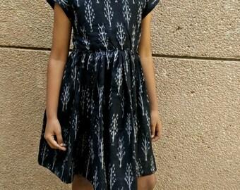 Black ikat print dress, black cotton dress, ikat print dress, toddler girl's dress, size 3,4,5,6,7,8yrs
