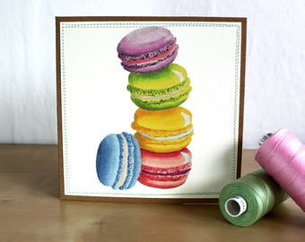Macaroons Birthday Card - Stitched Card - Greeting Card - Cute Card - Friendship - Fun Card - Embelished - Happy Mail - Just Because Card