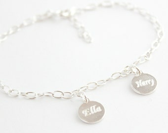925 Sterling Silver Double Disc Bracelet with Free Personalised Engraving, Includes Gift Box & Free Shipping