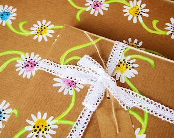 Daisy Chain - Luxury Gift Wrap Pack (Lace Trim Ribbon)