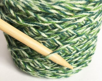Recycled MERINO WOOL/ CASHMERE Worsted (Aran) Weight Green Marled Yarn