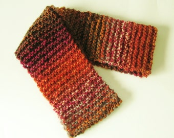 Knit Infinity Scarf in Sunset, Circle Scarf, Knitted Circle Scarf, Hand Knit Scarf, Vegan Yarn