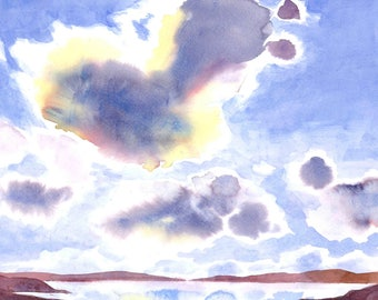 Summer Clouds Watercolor Art Print