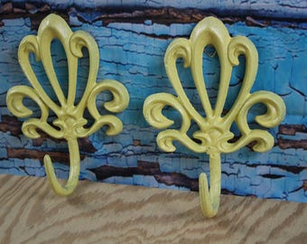 Cast Iron Decorative Wall Hook Yellow (Lot of 2)