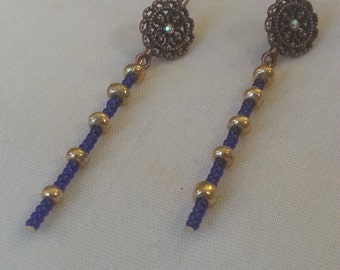 Beaded Earrings Royal Blue and Gold