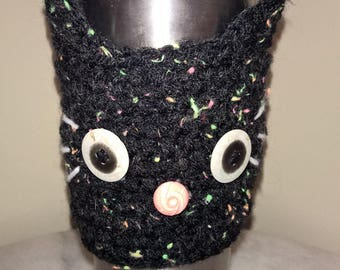 Cat head crochet cozy.Kitty cat. Coffee, tumbler, hot or cold, disposable coffee cup