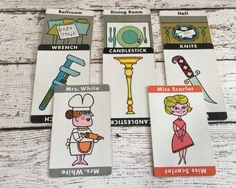 CLUE Game Vintage Playing Cards (8) ~Paper Ephemera ~Scrapbooking~Journal