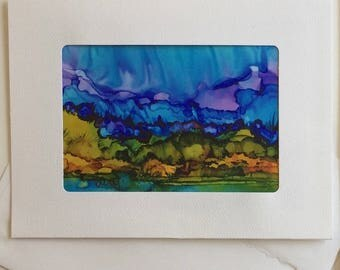 Greeting Card: #M2, made with a photo of an original ink painting by Mary Wojciechowski.