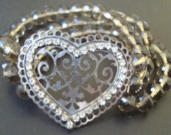 Filigree Valentine heart beaded bracelet