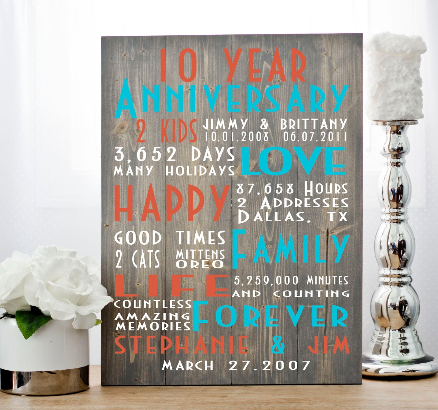 10th Anniversary Anniversary Gift Tenth Anniversary Ten