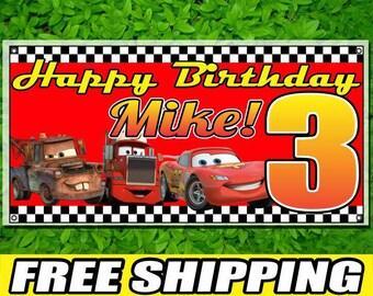 Cars Printed Banner Personalized Custom Name Vinyl Banner Happy Birthday Banner