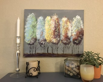 Colorful Trees (Acrylic Canvas Painting)
