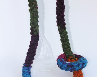 Crochet necklace-necklace long multicolored cotton tubular and Romanian spikelet 3d