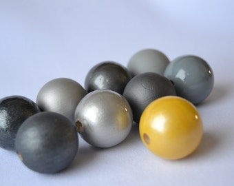 WOODEN BEADS SET 91 , hand painted wooden beads, yellow color wooden bead, jewelry wood beads supply, diy wooden beads, silver wooden beads