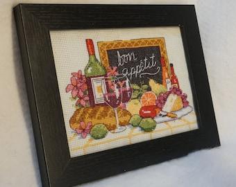 Bon appetit framed cross stitch