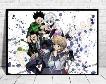 """Gift Anime Poster Size up to 33""""x47"""" Hunter x Hunter Anime Print Wall Art Watercolor Canvas,Buy 2 Get 3rd FREE, Anime Poster, AG299"""