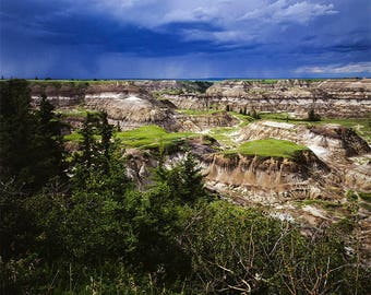 Storm sky over the  Horseshoe Canyon near Drumheller